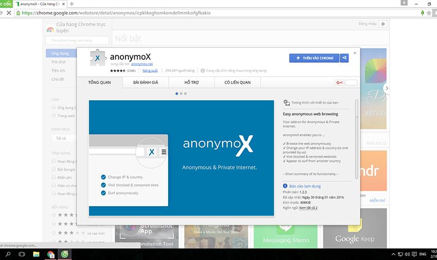Lướt web ẩn danh với anonymoX vào cmd368 an toàn